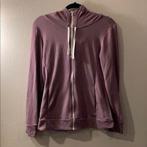Cowl neck purple zip up